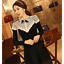 Women's Lace Black Dress , Casual/Work Crew Neck Long Sleeve Lace/Bow