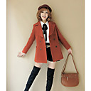 Women's Long Sleeve Wool Coat , Work