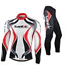 SANTIC-Men's Cycling Jersey + Pants Warm Red and White Fleece Long Sleeve Thermal Cycling Suit
