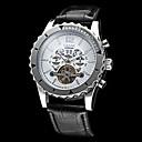 Auto-mécanique Tourbillon Boîtier en acier en cuir noir des hommes de la bande de montre-bracelet (couleurs assorties)