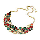 European (Oval Pendant) Gold Alloy Statement Necklace(Multicolor) (1 Pc)