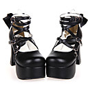 Handmade Black PU Leather 9.5cm High Heel Classic Lolita Shoes with Bow