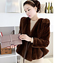 Beautiful Long Sleeve Collarless Faux Fur Party/Casual Jacket(More Colors)
