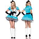 Charming Girl Blue Cotton Maid Uniform