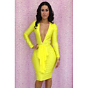 Women's Dress , Polyester Black/Blue/Purple/Red/Yellow Sexy/Bodycon/Party