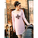 TS Simplicity Beads Cross Long Sleeve Sheath Dress