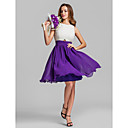 Short/Mini Georgette Bridesmaid Dress - Multi-color Plus Sizes / Petite A-line Jewel