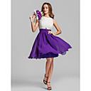 Homecoming Bridesmaid Dress Knee Length Georgette A Line Jewel Dress (808914)