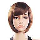20% Human Hair 80% Syntetisk Varmebestandig Fiber Hair Side Bang Rett Kort Wig