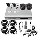 Ultra Low Price 4CH CCTV DVR Kit (H. 264, 2 Outdoor Waterproof& 2 Indoor IR Cameras)