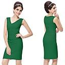 V-cuello verde malaquita riza el vestido de coctel atractivo del botón Nuevo con Etiquetas