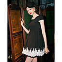 TS Lace Decor Yksinkertaisuus Skater Dress