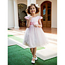 Dress - Lilac A-line/Princess Jewel Tea-length Satin/Tulle