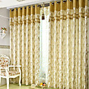 Designer Two Panels Floral  Botanical Gold Living Room Polyester Panel Curtains Drapes