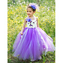 Flower Girl Dress - Baile Longo Sem Mangas Seda/Tule