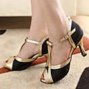 Customizable Women's Dance Shoes Ballroom/Latin/Salsa Satin/Leatherette Customized Heel Gold