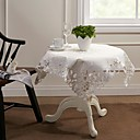 Belle nappe blanche Table carrée Topper broderie