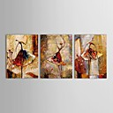 Peint à la main peinture à l'huile de gens de danse femmes avec Set de cadre tendu de 3