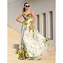 Formal Evening Dress - Print Plus Sizes A-line Straps Floor-length Chiffon
