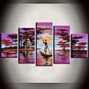Hand Painted Oil Painting African Forest Pink Lake Boat Landscape Paintings with Stretched Frame Set of 5