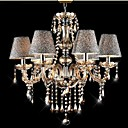 6 Lights,Decorative Crystal Chandelier In Cognac Color With Lamp Shade , Crystal & Glass