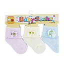 KUWA One to 12 month dacron & cotton Multi Color BB socks (3-pack, Random Color)