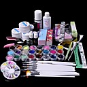 61pcs glitter uv gel cleanser primer nail art kit sett