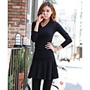 Women's V-neck Long Sleeve Pleated Mini Dress