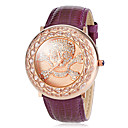 Women's Diamond Quatrefoil Pattern Leather Band Quartz Wrist Watch (Assorted Colors)