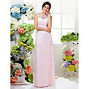 Floor-length Lace Bridesmaid Dress - Blushing Pink Plus Sizes / Petite Sheath/Column Jewel