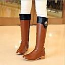 Zapatos de mujer - Tacón Robusto - Punta Redonda - Botas - Casual - Semicuero - Negro / Marrón / Bermellón