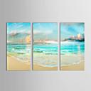 olieverfschilderijen set van 3 landschap zee wal en de blauwe hemel met de hand beschilderd doek klaar om op te hangen