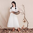Women's Solid White Dress , Vintage/Party/Maxi Round Neck ¾ Sleeve
