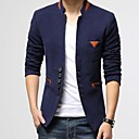 Men's Slim Stand Tweed Small Single Breasted Contrast Color Blazer