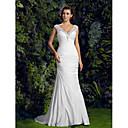 Lanting Trumpet/Mermaid Wedding Dress - Ivory Court Train V-neck Charmeuse