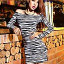 Women's Sexy / Casual Animal Loose Dress , Off Shoulder Above Knee Cotton