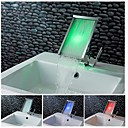 Charmingwater Contemporary  Color Changing LED Waterfall Chrome Brass  Bathroom Sink Faucet