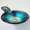 Blue  Hat Shape Tempered Glass Vessel Sink with Waterfall Faucet ,Pop - Up Drain and Mounting Ring