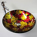 Multicolour Round Tempered Glass Vessel Sink with Bamboo Faucet ,Pop - Up Drain and Mounting Ring