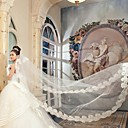 One-tier Cathedral Wedding Veils With Applique Edge