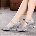 Non Customizable Women's Dance Shoes Ballroom/Modern Leatherette Chunky Heel Silver