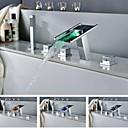Torneira de Banheira - LED / Cascata / Chuveiro de Mão Incluído - Latão (Cromado) - ESTILO Contemporâneo