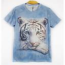 Men's Short Sleeve T-Shirt , Cotton Blend Casual Print