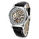 CJIABA Men's Elegant Skeleton Leather Band Auto Mechanical Wrist Watch