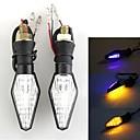 2PCS (12)는 3528 SMD 오토바이 이중 색상 신호 점멸등 표시 등 LED가 점등