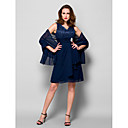 A-line Mother of the Bride Dress - Dark Navy Knee-length Sleeveless Chiffon/Lace
