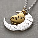 Fashion Daughter Heart And Moon Pendant Silver Alloy Pendant Necklace(1 Pc)