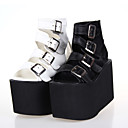 Handmade PU Leather 10cm Wedge Punk Lolita Sandals with Buckles