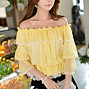 Women's Casual/Lace Off-the-shoulder ½ Length Sleeve Chiffon Tops & Blouses (Chiffon/Polyester)