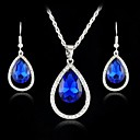 New Austria Crystal Drop Pendants Necklace Drop Earring Jewelry Set for Women Dress (More Colors)